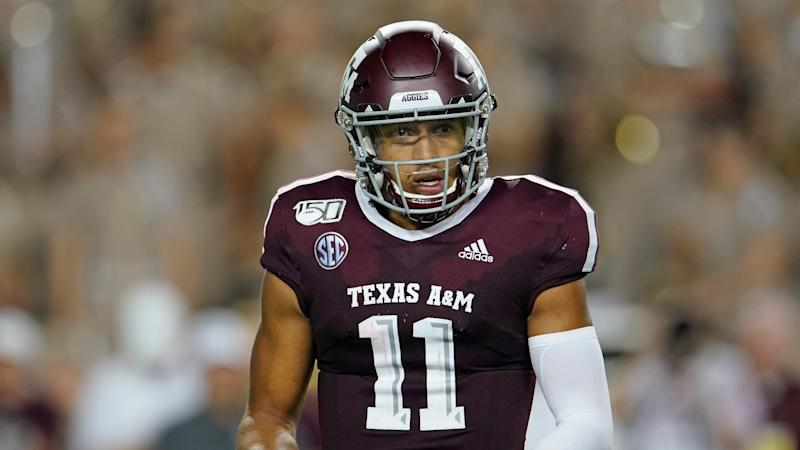 Texas A&M's Kellen Mond (11) gets a signal from the bench during the Aggies' game against Texas State on Aug. 29. (AP)