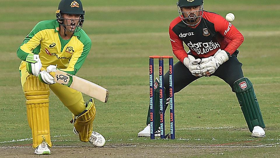 Australia's Alex Carey says he is confident the team can bounce back from a disastrous tour of the West Indies and Bangladesh at the upcoming T20 World Cup. (Photo by MUNIR UZ ZAMAN/AFP via Getty Images)