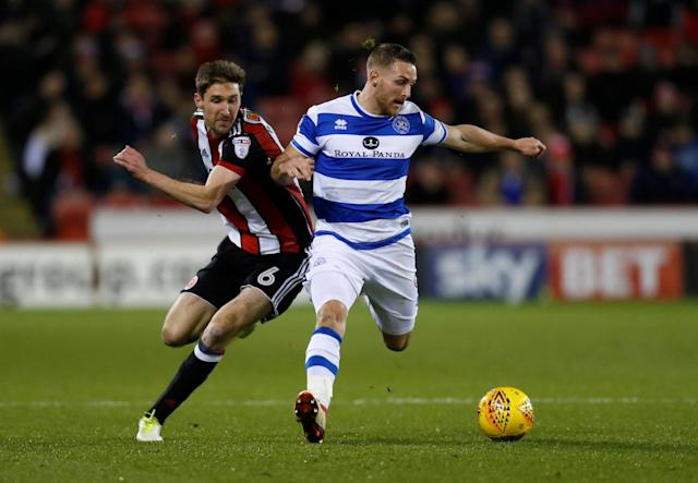 "Soccer Football - Championship - Sheffield United vs Queens Park Rangers - Bramall Lane, Sheffield, Britain - February 20, 2018 Sheffield United's Chris Basham in action with Queens Park Rangers' Conor Washington Action Images/Ed Sykes EDITORIAL USE ONLY. No use with unauthorized audio, video, data, fixture lists, club/league logos or ""live"" services. Online in-match use limited to 75 images, no video emulation. No use in betting, games or single club/league/player publications. Please contact your account representative for further details."