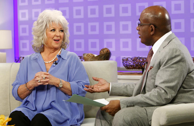"FILE - In this Jan. 17, 2012 file image originally released by NBC, co-host Al Roker speaks to celebrity chef and TV personality Paula Deen about her diabetes on the ""Today"", in New York. Deen was a no-show Friday, June 21, 2013, at the ""Today"" show, where she was scheduled to appear to answer questions about past use of racial slurs. (AP Photo/NBC, Peter Kramer, file)"