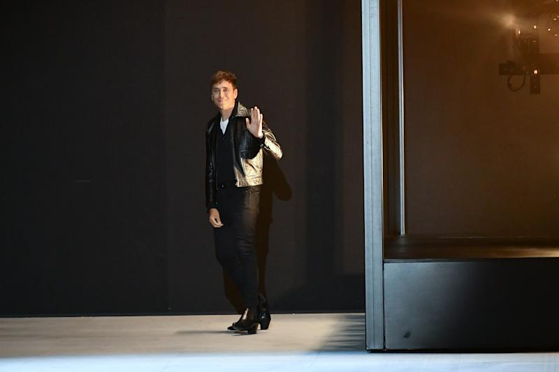 PARIS, FRANCE - JUNE 23: Hedi Slimane walks the runway during the Celine Menswear Spring Summer 2020 show as part of Paris Fashion Week on June 23, 2019 in Paris, France. (Photo by Dominique Charriau/WireImage)
