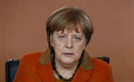 German Chancellor Merkel before cabinet meeting at the chancellery in Berlin
