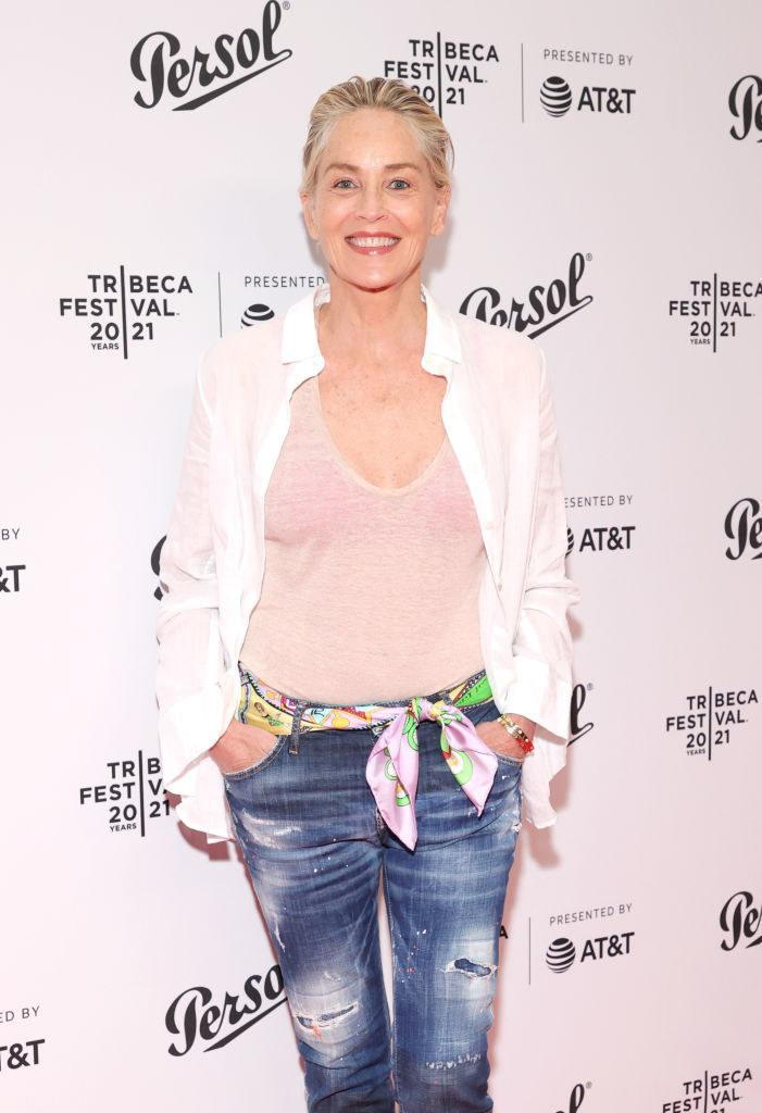 Sharon Stone smiles at camera while attending the Tribeca Festival Awards Night