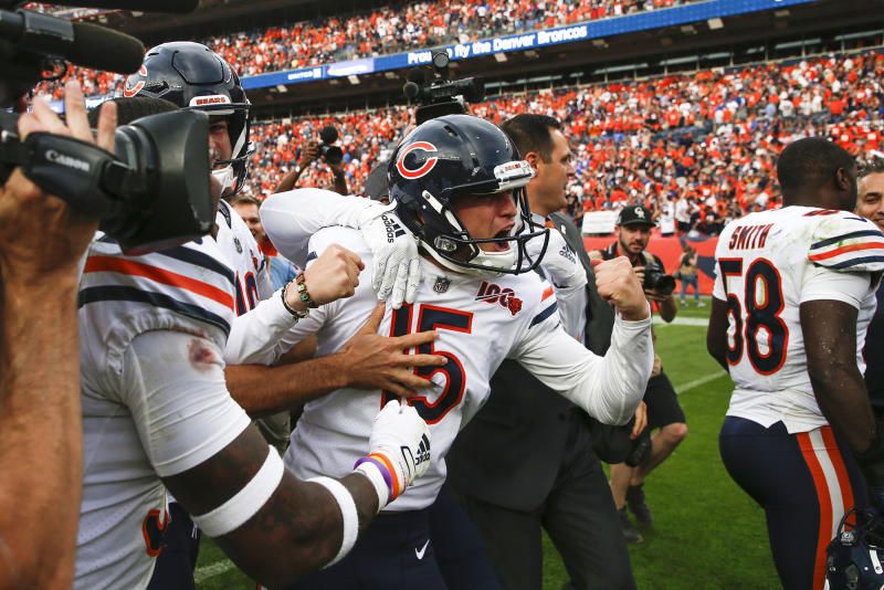 Chicago Bears kicker Eddy Pineiro (15) reacts after he makes a 53-yard field goal to beat the Denver Broncos on Sunday, Sept. 15, 2019 at Broncos Stadium at Mile High in Denver, Colo. (Jose M. Osorio/Chicago Tribune/Tribune News Service via Getty Images)