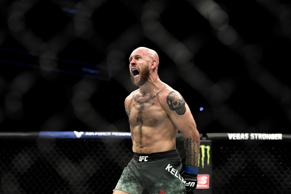 JACKSONVILLE, FLORIDA - MAY 13: Brian Kelleher of the United States celebrates after defeating Hunter Azure of the United States in their Men's Bantamweight bout during UFC Fight Night at VyStar Veterans Memorial Arena on May 13, 2020 in Jacksonville, Florida. (Photo by Douglas P. DeFelice/Getty Images)