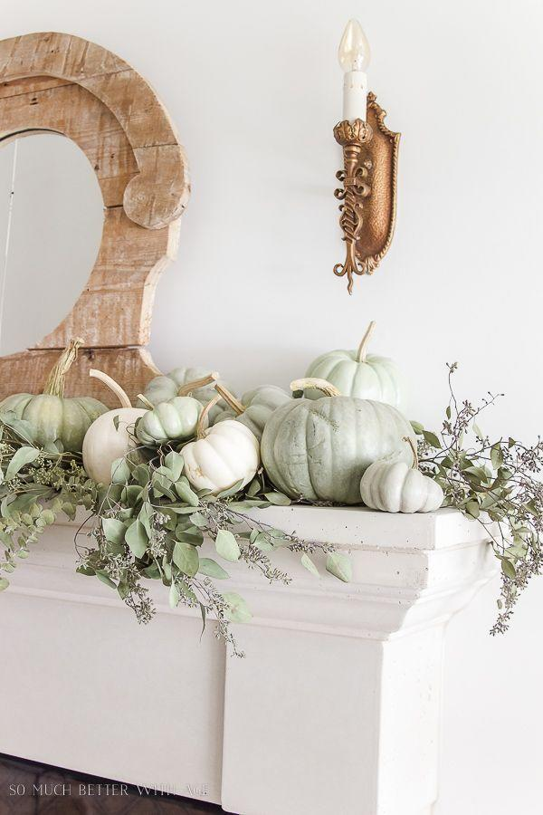 """<p>You know those heirloom pumpkins at the patch that always stand out in the sea of orange? You can make your own that'll last from year to year, looking flawless above the fireplace.</p><p><strong>Get the tutorial at <a href=""""https://somuchbetterwithage.com/diy-heirloom-pumpkin-tutorial/"""" rel=""""nofollow noopener"""" target=""""_blank"""" data-ylk=""""slk:So Much Better with Age"""" class=""""link rapid-noclick-resp"""">So Much Better with Age</a>.</strong></p><p><a class=""""link rapid-noclick-resp"""" href=""""https://go.redirectingat.com?id=74968X1596630&url=https%3A%2F%2Fwww.walmart.com%2Fip%2FUS-Art-Supply-1-inch-Foam-Sponge-Wood-Handle-Paint-Brush-Set-Value-Pack-of-50-Lightweight-durable%2F422388630&sref=https%3A%2F%2Fwww.thepioneerwoman.com%2Fhome-lifestyle%2Fcrafts-diy%2Fg36891743%2Ffall-mantel-decorations%2F"""" rel=""""nofollow noopener"""" target=""""_blank"""" data-ylk=""""slk:SHOP SPONGE BRUSHES"""">SHOP SPONGE BRUSHES</a></p>"""