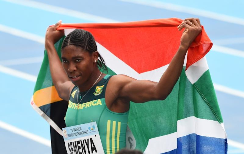 Caster Semenya celebrates with the South African flag after winning the women's 800m during the African Athletics Championships in Nigeria in August 2018