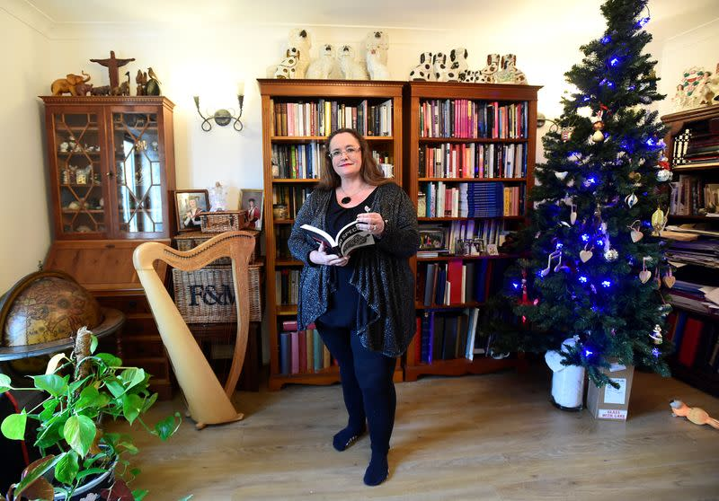 Professor Jill Atkins of the University of Sheffield poses in her house in Brecon, Wales