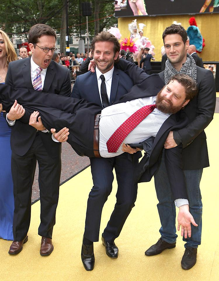 LONDON, ENGLAND - JUNE 10:  Actor Zach Galifianakis is carried by (L-R) actress Heather Graham, director Todd Phillips and actors Bradley Cooper and Justin Bartha as they attend 'The Hangover' film premiere at Vue West End cinema on June 10, 2009 in London, England.  (Photo by Jon Furniss/WireImage)