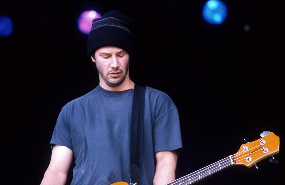 Reeves performs with his band Dogstar at the Glastonbury Festival in the United Kingdom.