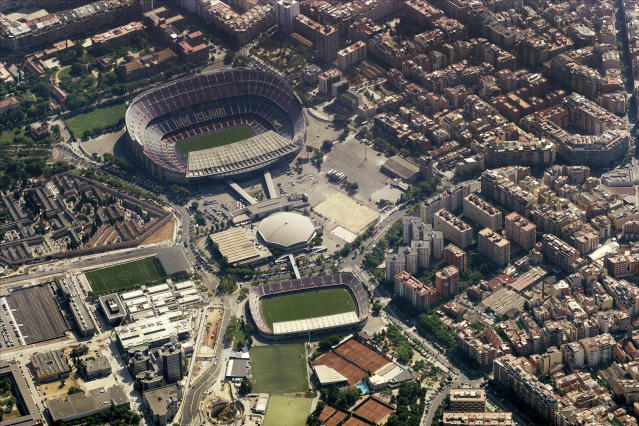 Camp Nou in Spain is one of several venues featured in the latest internet challenge. (Getty)