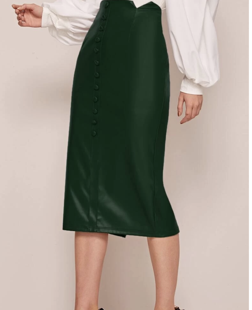 Notched Waistband Buttoned Front PU Leather Skirt, $18.95, from Shein.