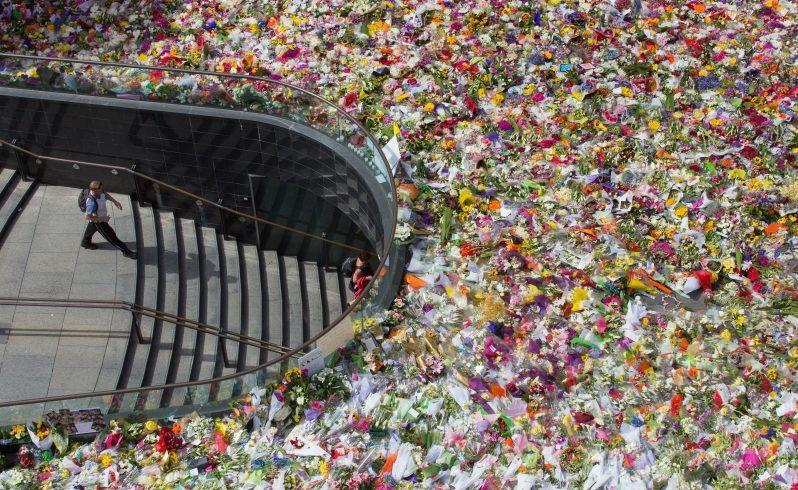 The sea of flowers in Martin Place. Photo: AP