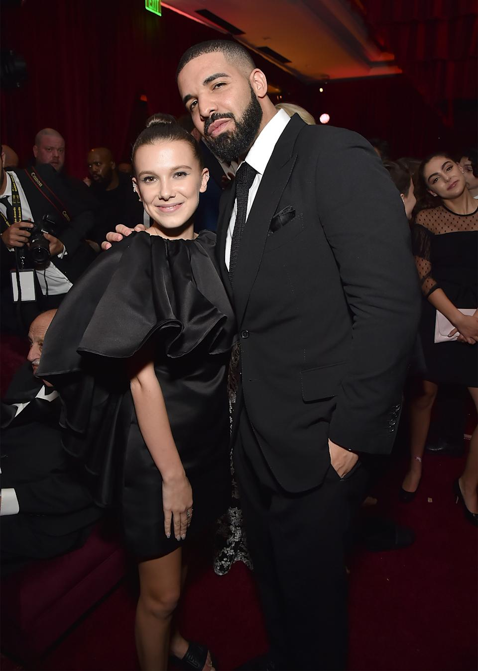 Millie Bobby Brown and Drake attend the Netflix Golden Globes after party at Waldorf Astoria Beverly Hills on January 7, 2018 in Beverly Hills, California.  (Photo by Kevin Mazur/Getty Images for Netflix)