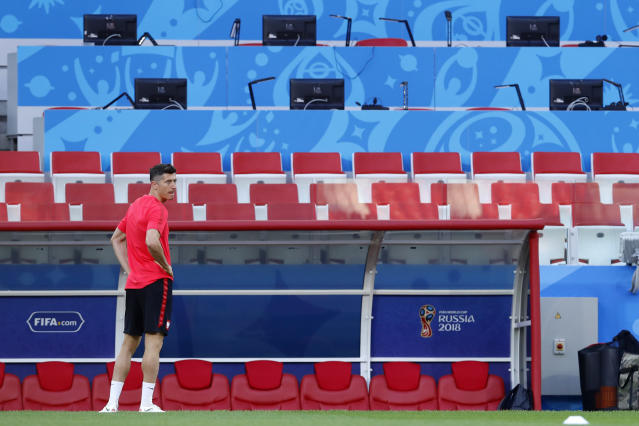 Poland's Robert Lewandowski attends the Poland's official training on the eve of the group H match between Poland and Senegal at the 2018 soccer World Cup in the Spartak Stadium in Moscow, Russia, Monday, June 18, 2018. (AP Photo/Hassan Ammar)