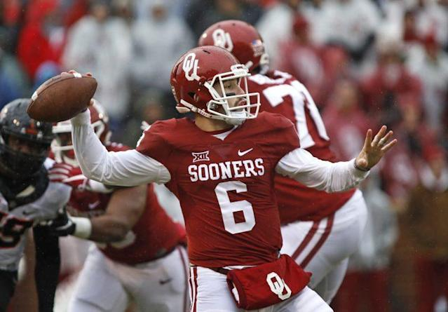"Oklahoma quarterback <a class=""link rapid-noclick-resp"" href=""/ncaaf/players/229650/"" data-ylk=""slk:Baker Mayfield"">Baker Mayfield</a> led the nation in passing efficiency. (Getty)"