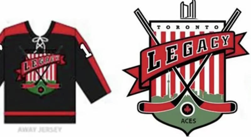 The proposed away jersey and logo for the Toronto Legacy Aces, the expansion NHL team investors hope to bring to the city in 2021. (YouTube//CityNews Toronto)