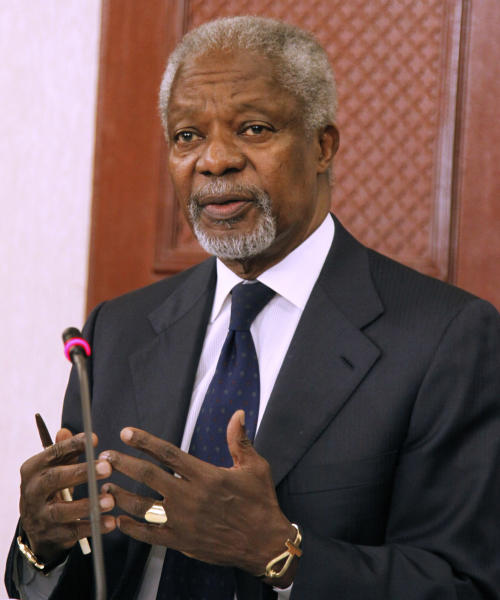 FILE - In this Oct. 11, 2012 file photo, former U.N. Secretary-General Kofi Annan gestures during a news conference in Nairobi, Kenya. Annan, who helped save Kenya from spiraling deeper into election violence five years ago, warned Saturday, Feb. 23, 2013 that intimidation, ethnic rivalry and violence could undermine Kenya's March presidential vote. (AP Photo/Khalil Senosi, File)