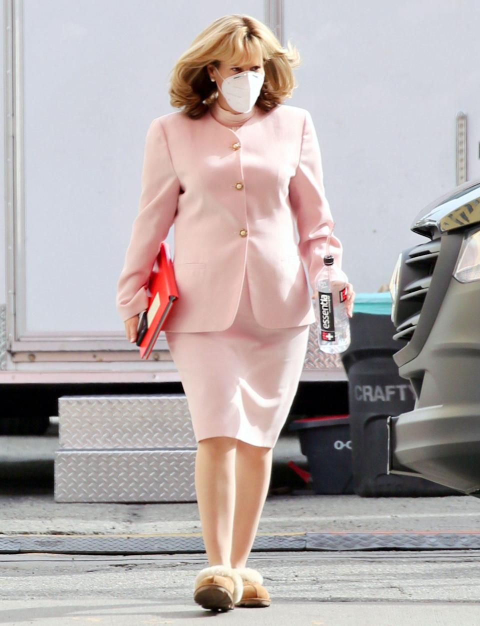 <p>Sarah Paulson is seen in character as Linda Tripp on set of <i>American Crime Story: Impeachment </i>on Monday in L.A. </p>