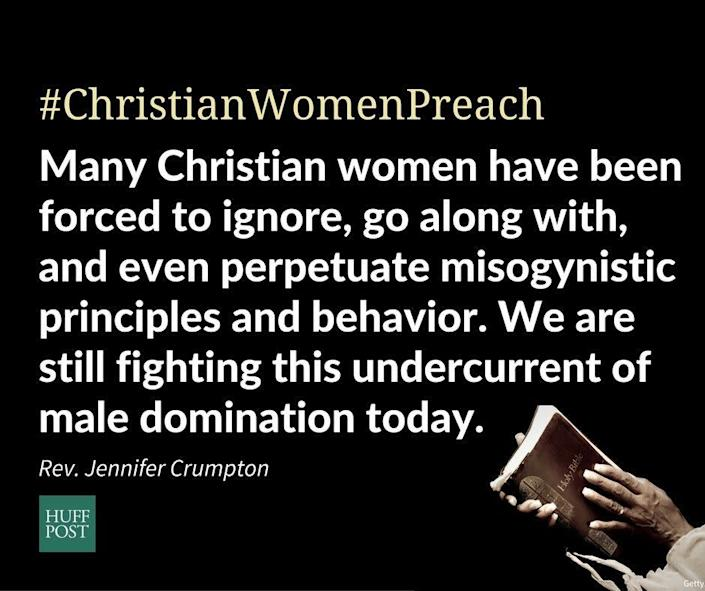 """""""Christian women in particular have been deeply patriarchalized over the course of history, due to the male hierarchy of the church and the theology and doctrine that claims women were made secondarily by God for the service of men, and that men hold dominion not just over the earth, but over women and their bodies. <strong>Many Christian women have been forced to ignore, go along with, and even perpetuate misogynistic principles and behavior We are still fighting this undercurrent of male domination today. </strong>This election situation is a critical moment in time to stand up to this phenomenon and the willingness with which people dismiss it.""""<br>- Rev. Jennifer Crumpton, Femmevangelical"""