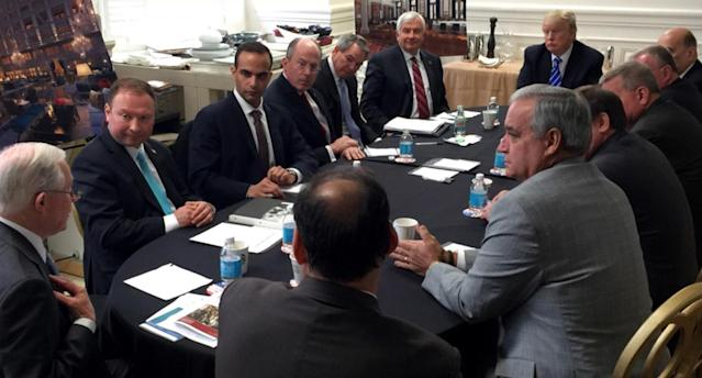 George Papadopoulos, third from left, at a strategy session presided over by then candidate Trump in March 2016. (Photo: Donald Trump's Twitter account via AP)