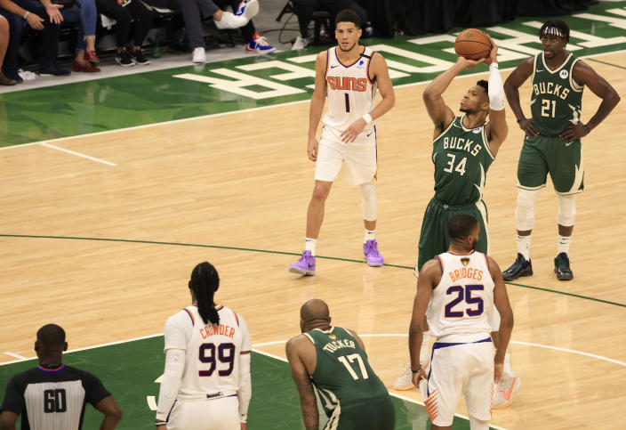 Giannis Antetokounmpo takes a free throw during the second half of Game 3 of the NBA Finals.