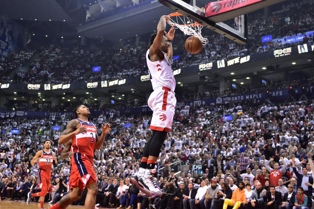 DeMar DeRozan led Toronto to a 3-2 series lead on Wednesday night. (Frank Gunn/The Canadian Press via AP)