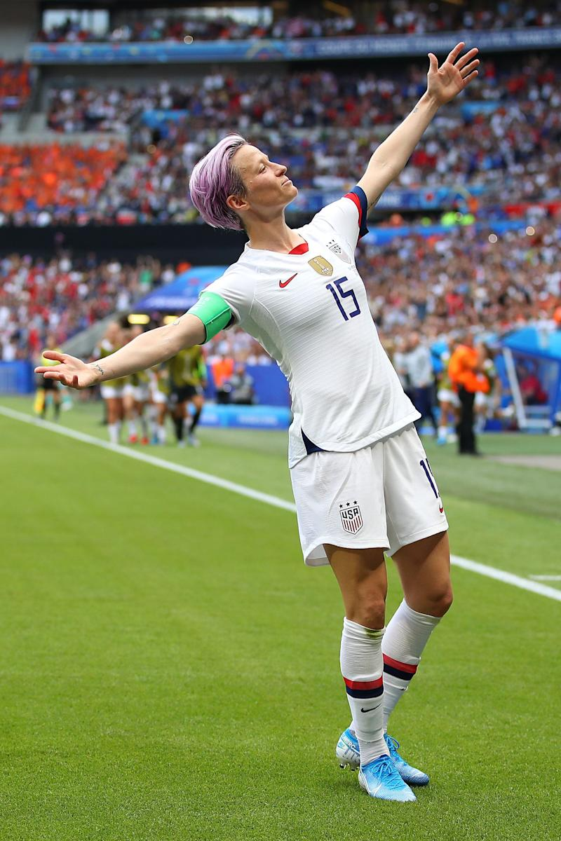Megan Rapinoe celebrates a goal during the 2019 FIFA Women's World Cup final between the U.S. and the Netherlands. (Photo: Richard Heathcote via Getty Images)