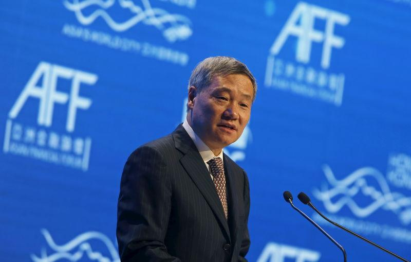 File picture of Xiao addressing the Asian Financial Forum in Hong Kong