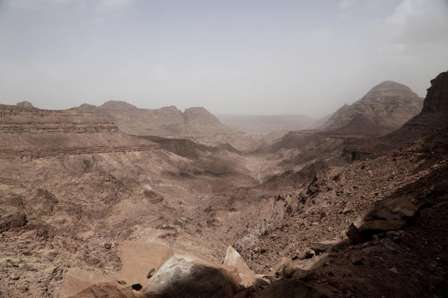 This March 30, 2019 photo, shows the scenery on a trek led by beduin women, near Wadi Sahw, Abu Zenima, in South Sinai, Egypt. Four Bedouin women are for the first time leading tours in Egypt's Sinai Peninsula, breaking new ground in their deeply conservative community, where women almost never work outside the home or interact with outsiders. They are part of Sinai Trail, a unique project in which local Bedouin tribes came together aiming to develop their own tourism. (AP Photo/Nariman El-Mofty)