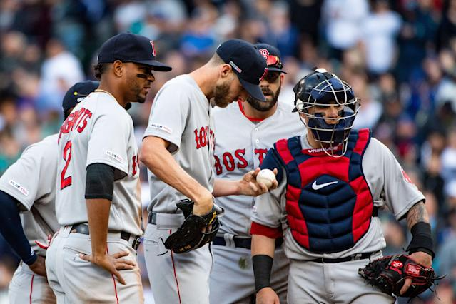 SEATTLE, WA - MARCH 28: Chris Sale #41 of the Boston Red Sox reacts during the third inning of the 2019 Opening day game against the Seattle Mariners at T-Mobile Park on March 28, 2019 in Seattle, Washington. (Photo by Billie Weiss/Boston Red Sox/Getty Images)