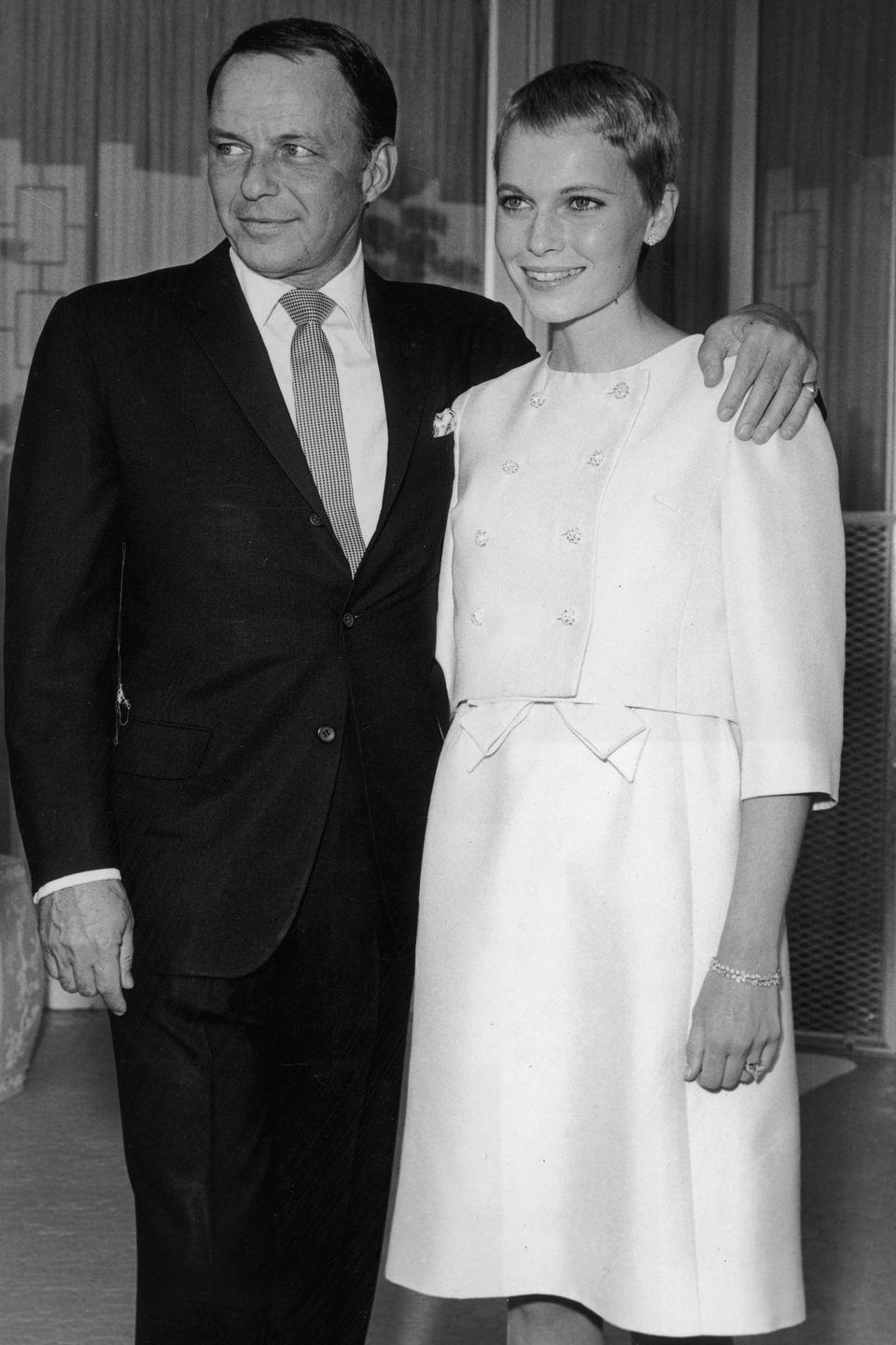 <p>Frank Sinatra shocked fans when he wed up-and-coming actress Mia Farrow in 1966. The singer, who had been married twice before, married the 21-year-old actress at the Las Vegas home of his friend, Jack Entratter. </p><p>Although the pair divorced in 1967, they remained friends until his death. </p>