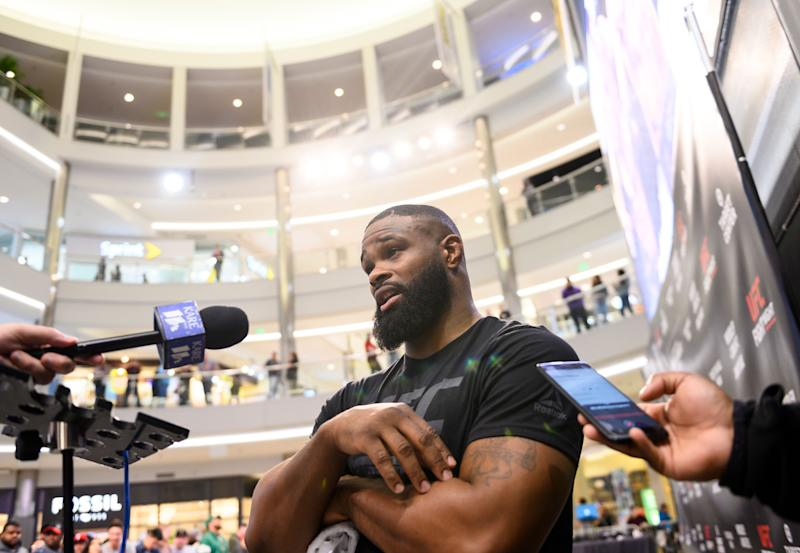 MINNEAPOLIS, MN - MAY 02: Tyron Woodley answers questions from media members during the UFC Fight Night Open Workouts event at the Mall of America on May 2, 2019 in Minneapolis, Minnesota. (Photo by Stephen Maturen/Zuffa LLC/Zuffa LLC)