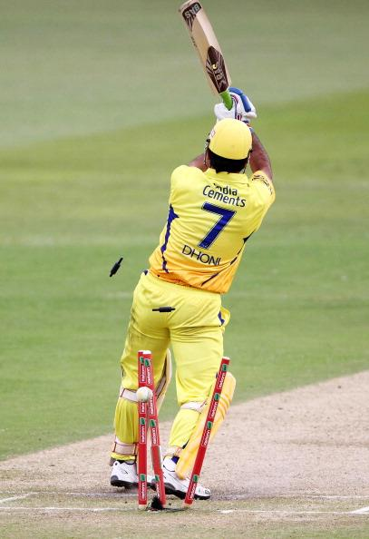 DURBAN, SOUTH AFRICA - OCTOBER 22:  MS Dhoni of Chennai is bowled during the Champions League twenty20 match between Chennai Super Kings and Yorkshire Carnegie at Sahara Stadium Kingsmead on October 22, 2012 in Durban, South Africa. (Photo by Anesh Debiky / Gallo Images/Getty Images)
