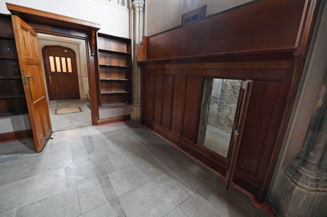 For the past 70 years, the entrance remained forgotten behind wooden panelling. (PA)