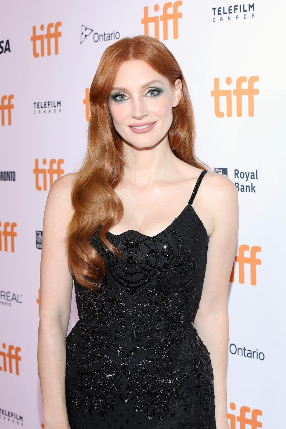Jessica Chastain on the red carpet at the 2021 Toronto International Film Festival.