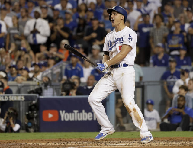 <p>Los Angeles Dodgers' Corey Seager celebrates after a two-run home run against the Houston Astros during the sixth inning of Game 2 of baseball's World Series Wednesday, Oct. 25, 2017, in Los Angeles. (AP Photo/Matt Slocum) </p>