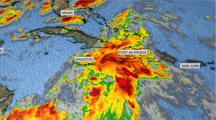 99L remains disorganized in the Caribbean - for now. / Credit: CBS News