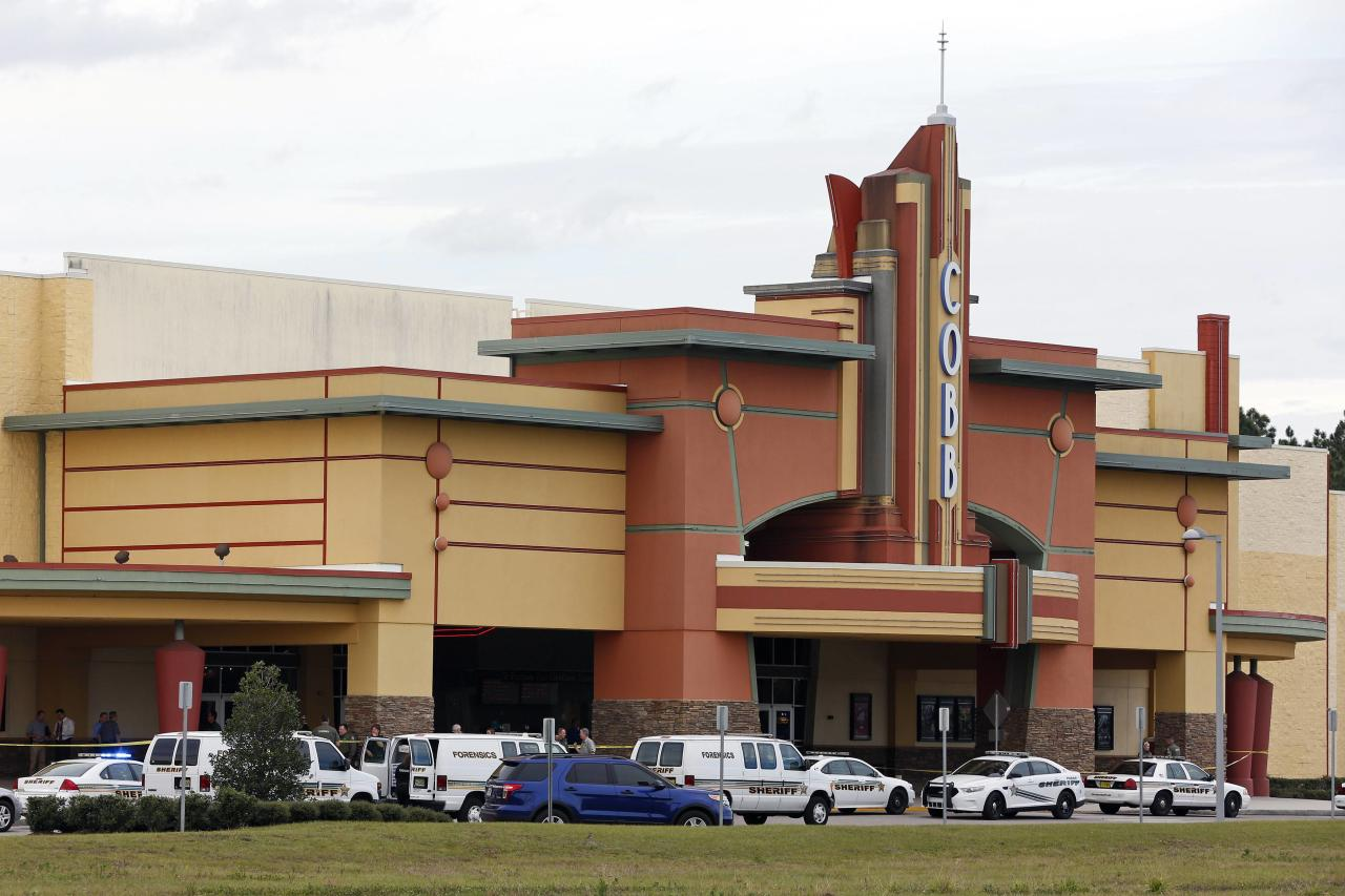 Law enforcement vehicles are parked outside the Cobb Grove 16 movie theater in Wesley Chapel, Florida January 13, 2014. A man opened fire inside the Tampa Bay area movie theater on Monday, injuring two people, a sheriff official said. REUTERS/Mike Carlson (UNITED STATES - Tags: CRIME LAW)