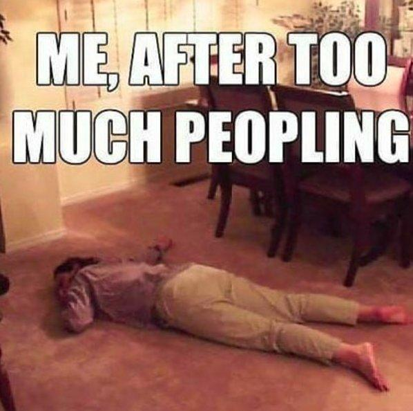 me after too much peopling: woman lying on ground
