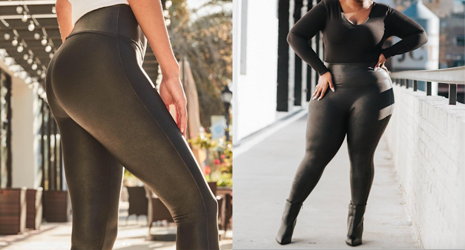 'They make my 'spare tire' disappear and my thighs look great!': Nordstrom shoppers love these Spanx booty-lifting leggings (Photos via @spanx/Instagram & @daviadominque/Instagram)