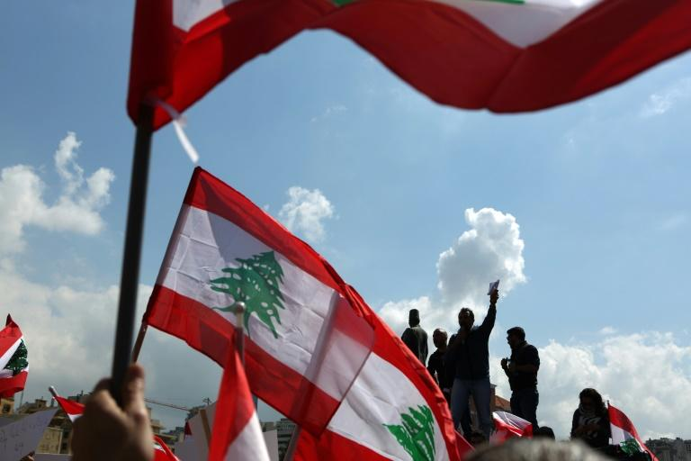 Lebanese protest in downtown Beirut on March 19, 2017, against increased taxes