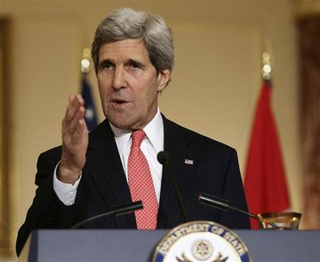 US Secretary of State Kerry speaks during news conference at the State Department in Washington