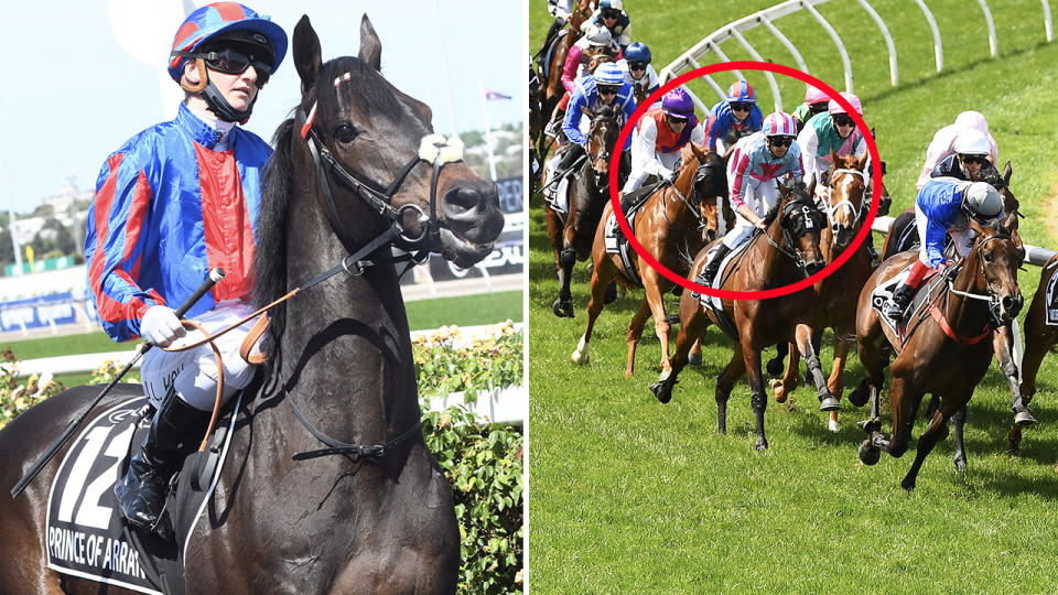 Jamie Kah, pictured here riding Prince of Arran in the Melbourne Cup.