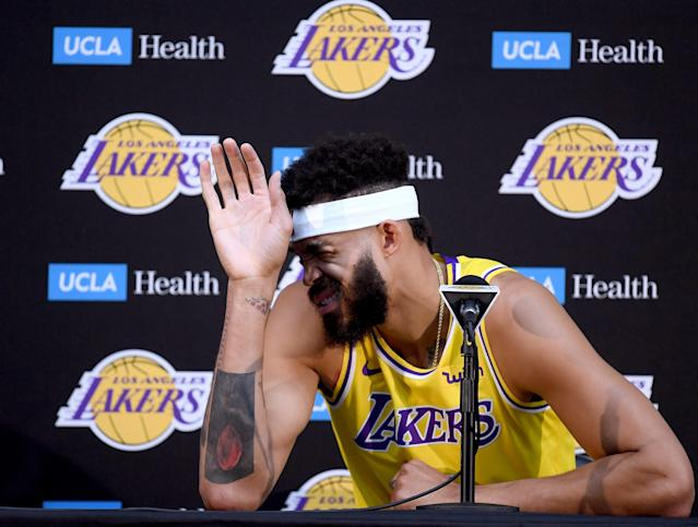 "New <a class=""link rapid-noclick-resp"" href=""/nba/teams/lal"" data-ylk=""slk:Los Angeles Lakers"">Los Angeles Lakers</a> center <a class=""link rapid-noclick-resp"" href=""/nba/players/4480/"" data-ylk=""slk:JaVale McGee"">JaVale McGee</a> meets with the media on Monday. (Getty Images)"