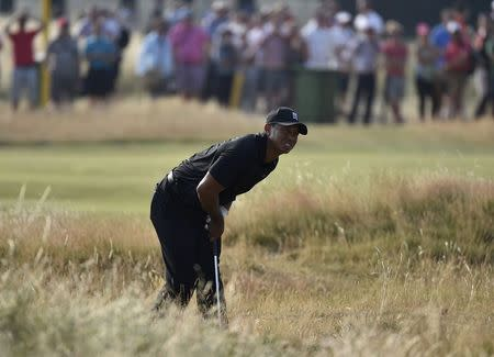 Tiger Woods of the U.S. reacts during the second round of the British Open Championship at the Royal Liverpool Golf Club in Hoylake