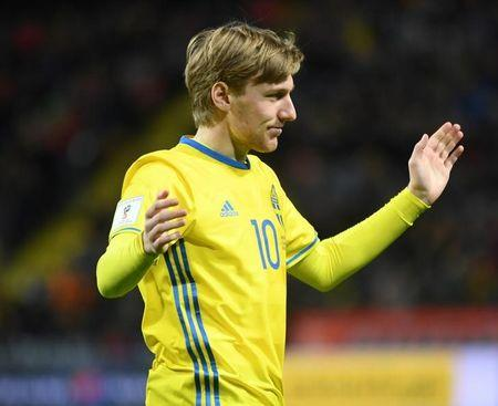 Football Soccer - Sweden v Belarus - 2018 World Cup Qualifiers European Zone - Friends Arena, Solna, Sweden - 25/03/17. Sweden's Emil Forsberg celebrates scoring. Fredrik Sandberg/TT News Agency via REUTERS