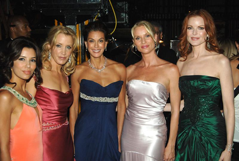 Eva Longoria, Felicity Huffman, Teri Hatcher, Nicolette Sherian and Marcia Cross pictured together at the 57th annual Emmy Awards. (Jeff Kravitz via Getty Images)