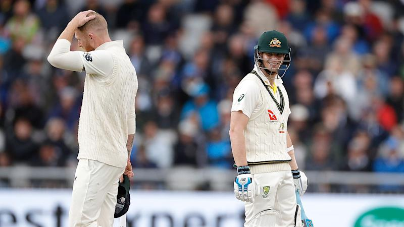 Pictured here, Ben Stokes looks frustrated by Steve Smith during the 2019 Ashes.