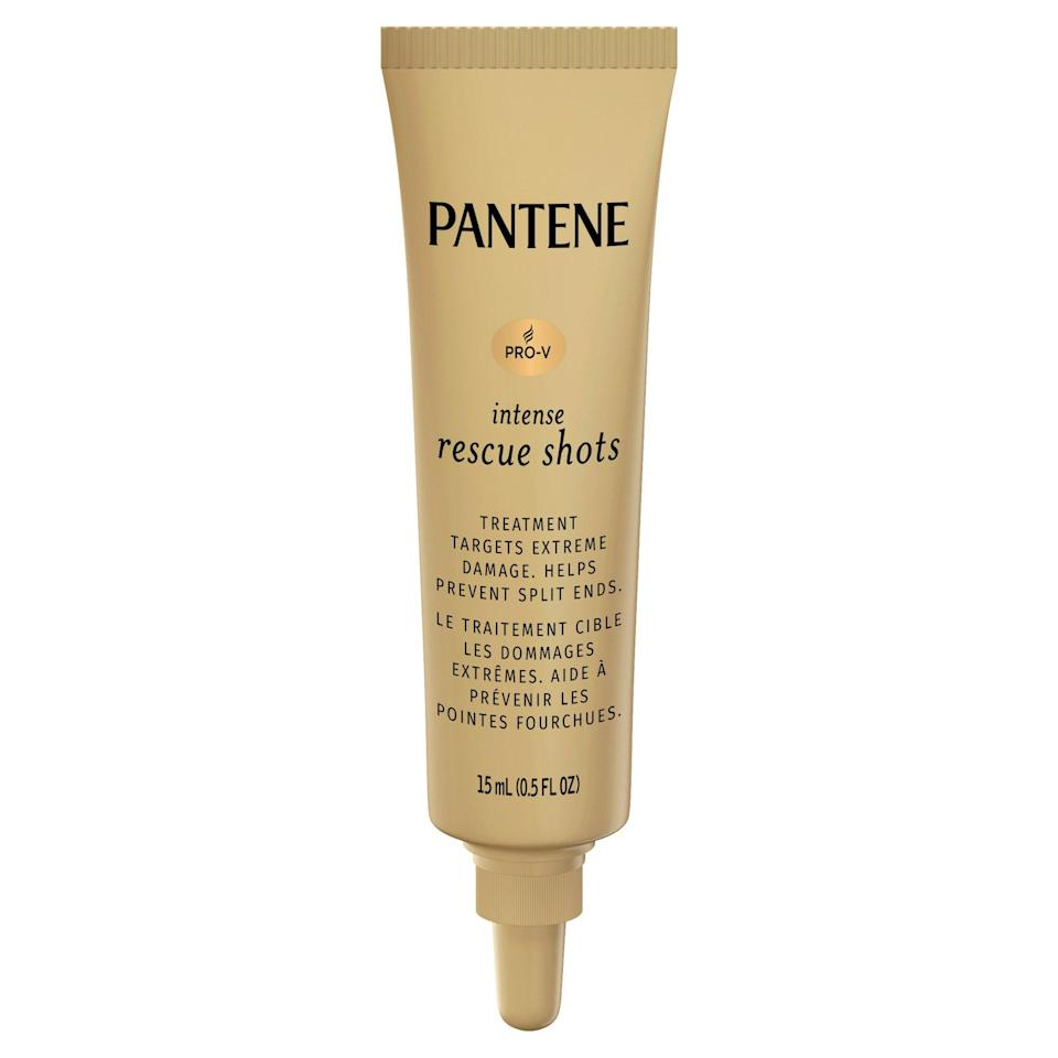 """Who really has time to stand in the shower for 15 minutes waiting for a hair mask to do its thing? Most likely, none of us. Well, we've got great news for you: the <a href=""""https://www.allure.com/review/pantene-intense-rescue-shots?mbid=synd_yahoo_rss"""" rel=""""nofollow noopener"""" target=""""_blank"""" data-ylk=""""slk:Pantene Intense Rescue Shots"""" class=""""link rapid-noclick-resp"""">Pantene Intense Rescue Shots</a> can be washed out after just <em>one minute</em>. Each single-serving shot, which is perfect for people who tend to use too much (or too little) product, is formulated with nourishing vitamin B5 and strengthening lipids to repair dry, damaged, and over-styled hair. $12, Amazon. <a href=""""https://www.amazon.com/Pantene-Ampoules-Treatment-Intensive-Damaged/dp/B07MDL2THD"""" rel=""""nofollow noopener"""" target=""""_blank"""" data-ylk=""""slk:Get it now!"""" class=""""link rapid-noclick-resp"""">Get it now!</a>"""